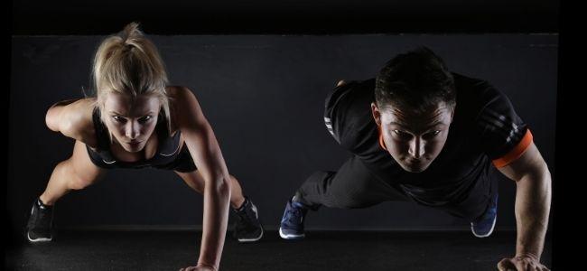 man and women training